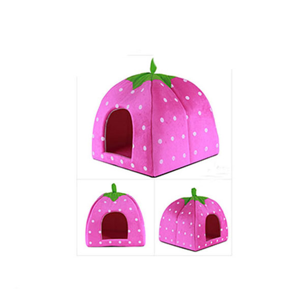 Soft Sponge White Dots Strawberry Pet Cat Dog house bed Comfortable Pets Dog Cats Nest