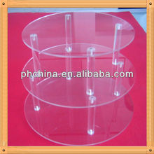 3-tier cylinder-shaped 4 mm thickness acrylic cupcake display case in display racks