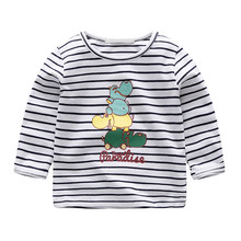 Baby Girl T-shirts With Cartoon Printing Striped Tops Round Neck T Shirts
