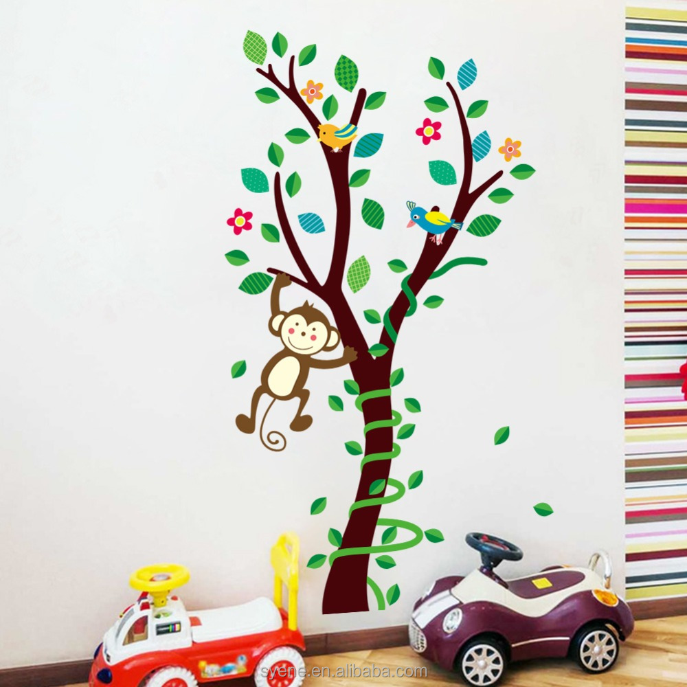 home decor family tree wall decal 3d art pvc removable monkey tree branch kid baby nursery printable wall decal sticker decor