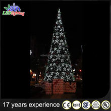 LED Lighted white outdoor lighted flash christmas trees