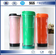 2016 newest double wall plastic insulated travel mug with paper insert,plastic coffee cup, Various colors available