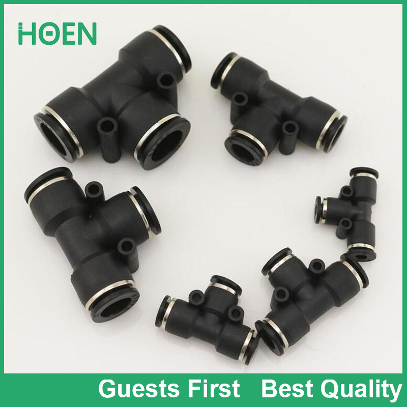 High quality PE black plastic PE air fittings air pipe connectors tee connect fitting