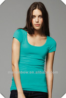 2014 ladies girls fashionable new design tight fit short sleeve t shirt for trendy clothing