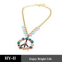 2014 wholesale fashion multi color necklaces with beads