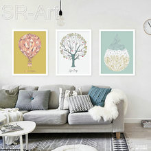 Nordic Art Cartoon Hot Balloon Canvas Poster Minimalist Painting Wall Picture Print Modern Kids Room Decoration