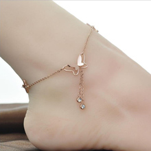 New Arrival 18k rose gold ankle foot bracelet body jewelry ,girls fashion anklets,stainless steel anklet