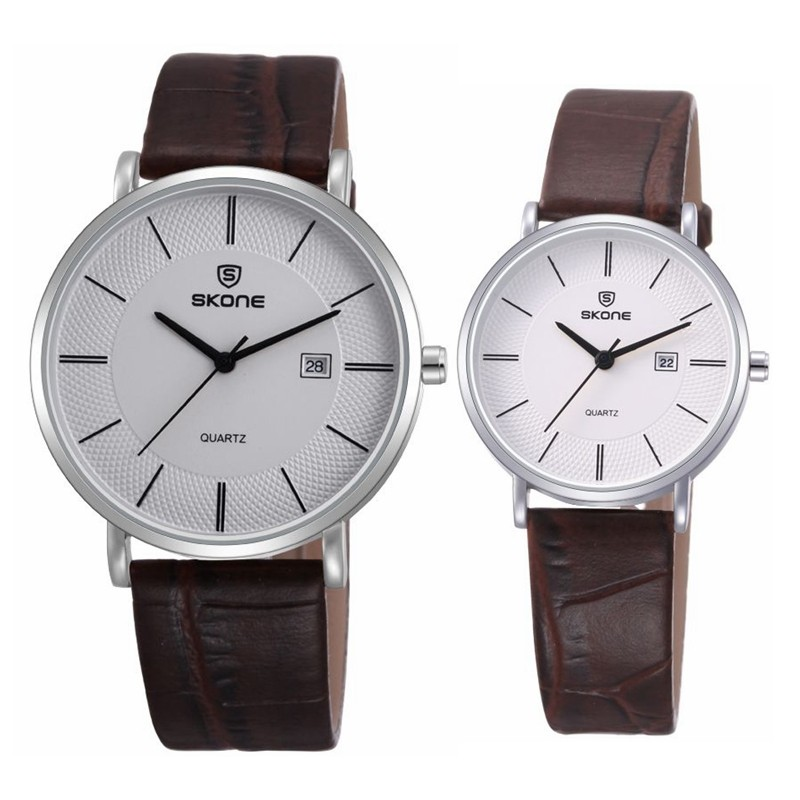 latest luxury brand skone quartz pair watch leather couple watch