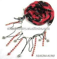 girl/woman's polyester/cotton/acrylic sexy animal print color crystal beaded scarf necklace