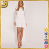 High Quality Clothing Products custom Design White High Neck Lace Skater Dress For Women