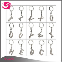 Wholesale Cheap Meatal Rhinestone Diamond Alphabel Initial Letters Keychain