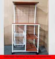 Wire Rolling Kitchen Cart Food Service Cart Microwave Stand