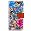 Painted abstract flower PU leather case with card slot phone case cover for iPhone 7/plus