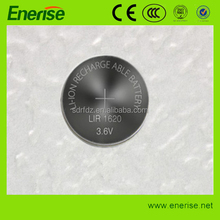 LIR1620 3.6V Rechargeable Lithium Button Cell Battery/ 3.6V Li-ion BUTTON CELL BATTERY FOR Hearing aid, watch