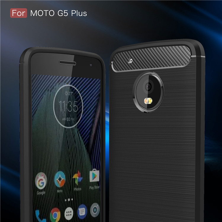 Brush style shook proof carbon fiber tpu cell phone case for Moto G5 plus,for Moto G5 plus case cover