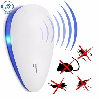New design dual chipset ultrasonic insect mosquito&mice control ultrasonic pest repeller black