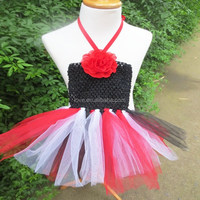 Boutique birthday girl tutu dress, Wholesale baby tutu dress in red black and white