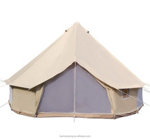 Luxury Outdoor Waterproof Four Season Family Camping and Winter Glamping Cotton Canvas Yurt Bell Tent with Mosquito Screen Door