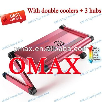 Factory price of high quality aluminium alloy 360 degrees laptop stand with cooling fans