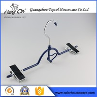 Metal Pants Wire Hanger With Clips , Plastic Covers Fits Over Wire Hanger For Drying