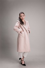 Attractive Design Natural Mink Girls Wool Cashmere Fur Coat For Women