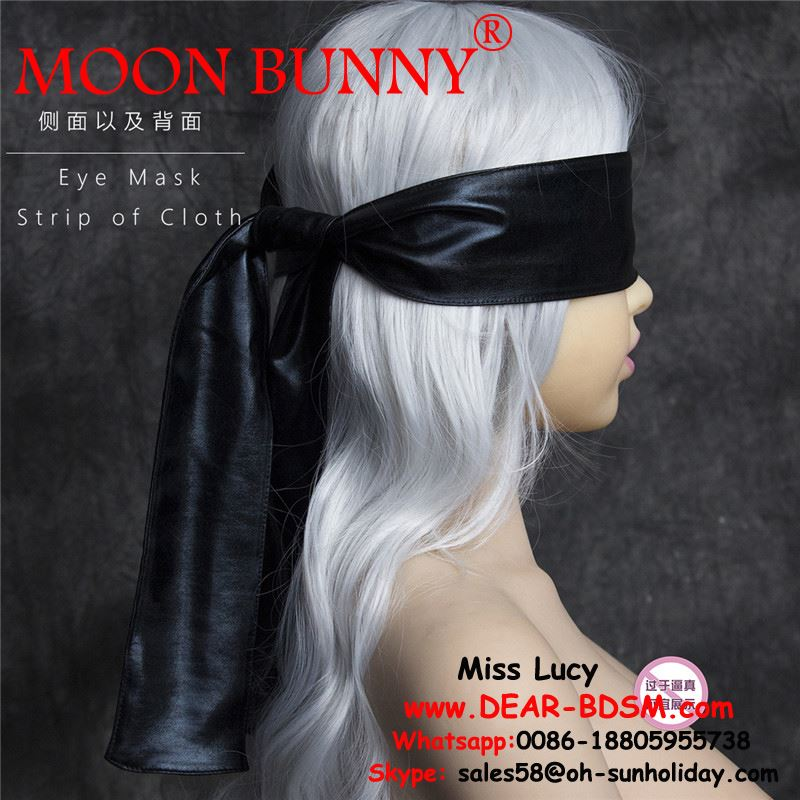 1.5M Satin ribbon & patent leather Blindfold Sexy Eye Mask Patch Bondage Masque Mask Sex Toys For Woman Men