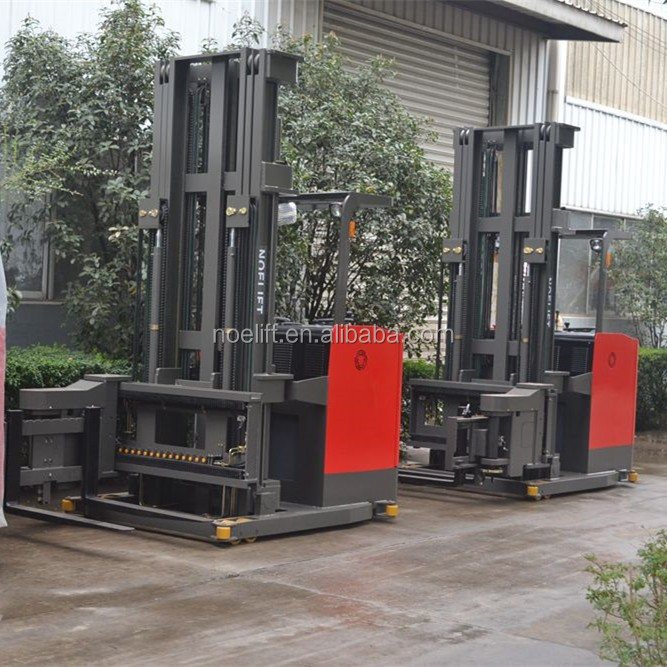 2200lbs load articulated forklift truck/VNA forklifts 3-way stacker stand on