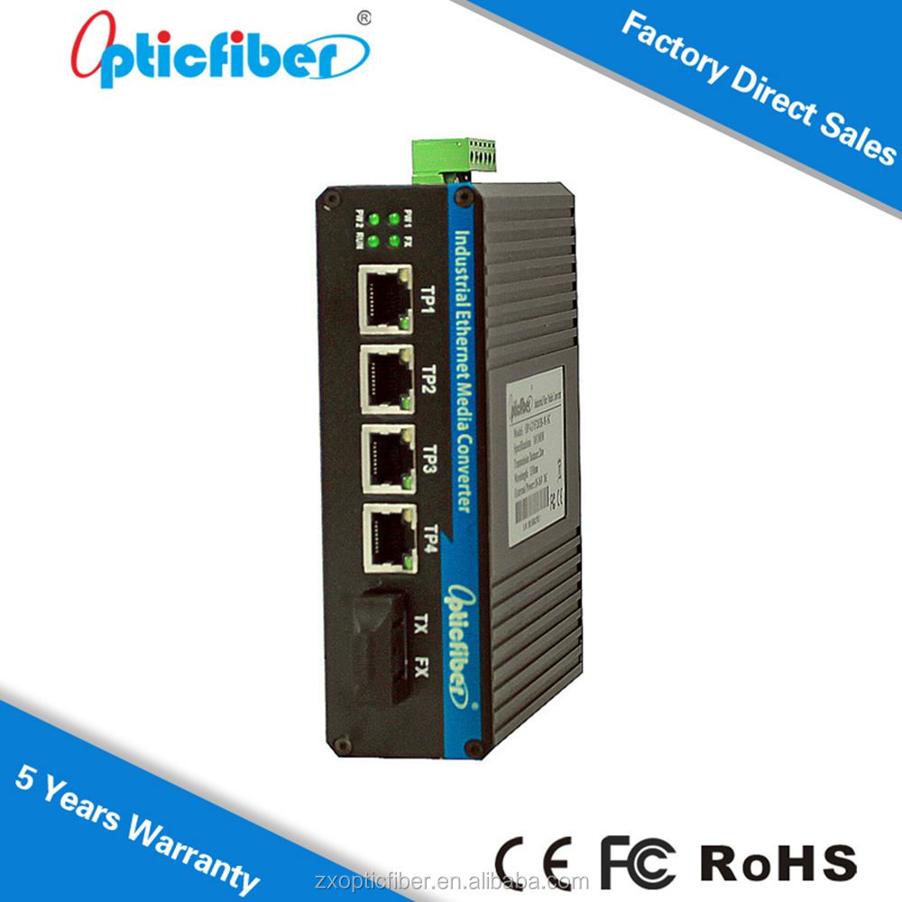 China export 4 x10/100M Fiber Port + 4 RJ45 Port SC Single Mode Dual Fiber Industrial Fiber Optic Media Converter