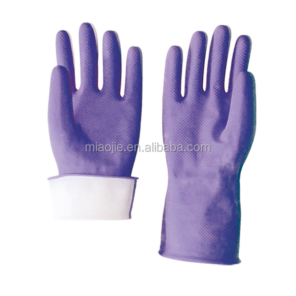 purple latex household gloves