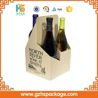 china factory made corrugated 4-bottle cardboard wine carriers, cheap wholesale printing custom wine packaging box