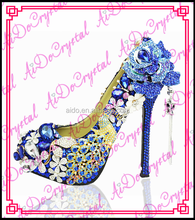 Aidocrystal famous brand blue Elegant rhinestone peacock wedding high heels fashion evening party high heels for ladies shoes