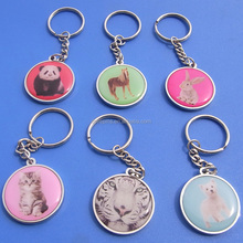 Customized waterproof metal keychain/printing zoo picture key holders