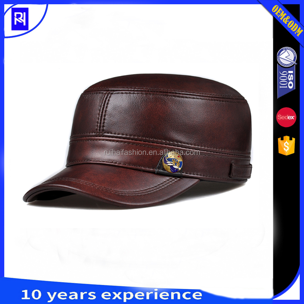 The new style wholesale free military cap leather military hat