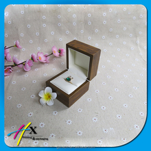 Custom small light brown wood color glossy lamination wooden box for ring with white leather inside