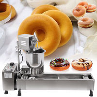 Free shipping to door CE Mini Desktop Wide Oil Tank 3 Sets Free Mold donut machine/doughnut making machine/electric donut maker