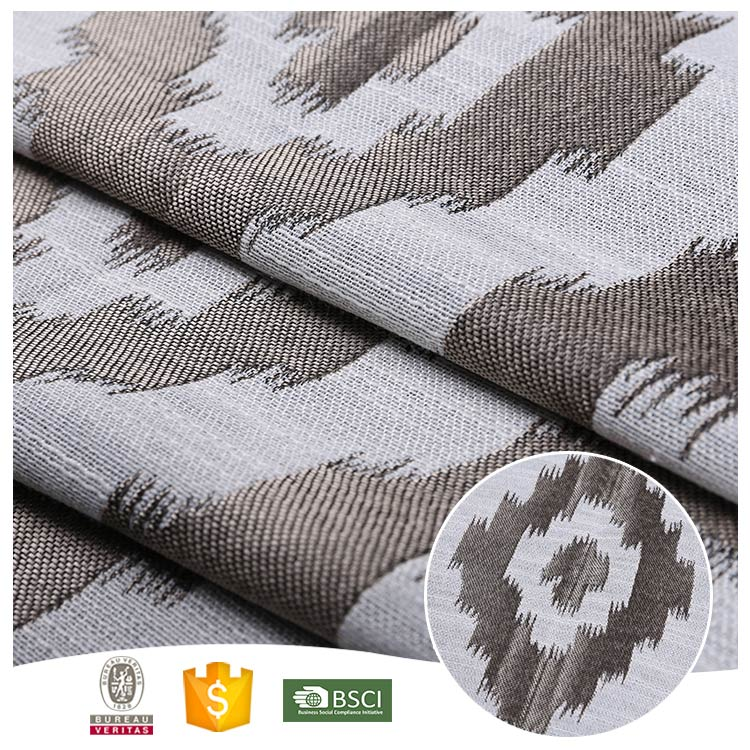 2017 hot selling popular 100% polyester damask jacquard curtain fabric