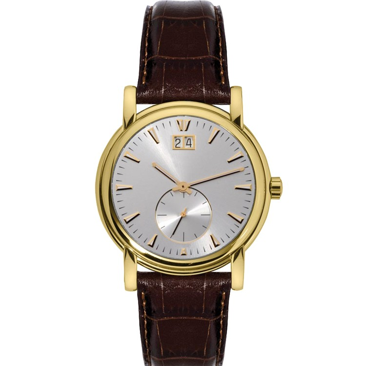 LongBo gold watch for men sapphire glass sharp simple leather watch