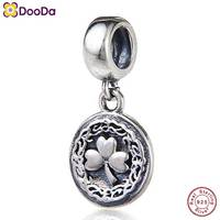 Dooda Jewelry Lucky Soul Dangle Charm Authentic Antique 925 Sterling Silver Clover Bead for 2018 European Style Bracelet