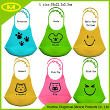 Easy To Carry Silicone Baby Bibs, Comfort-Fit Fabric Neck, Rolls Up for Storage