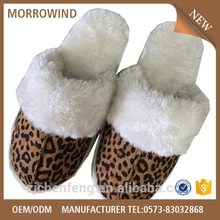 ladies sexey leopard plush slipper,comfortable TPR outsole slipper