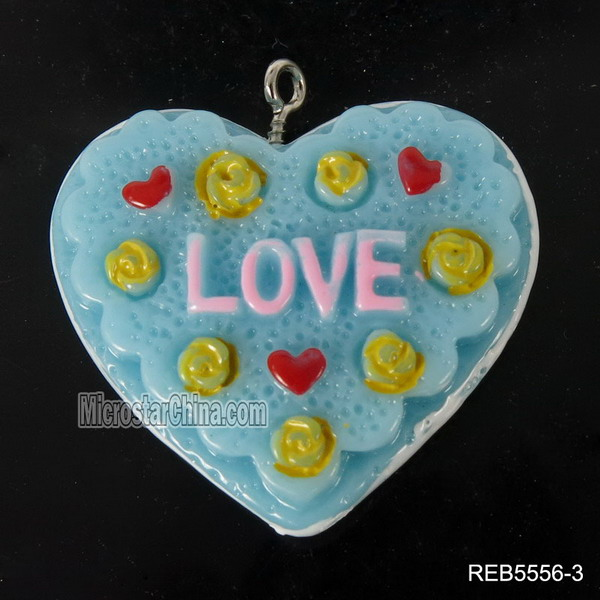 Popular realistic simulation artifical resin blue heart pendant