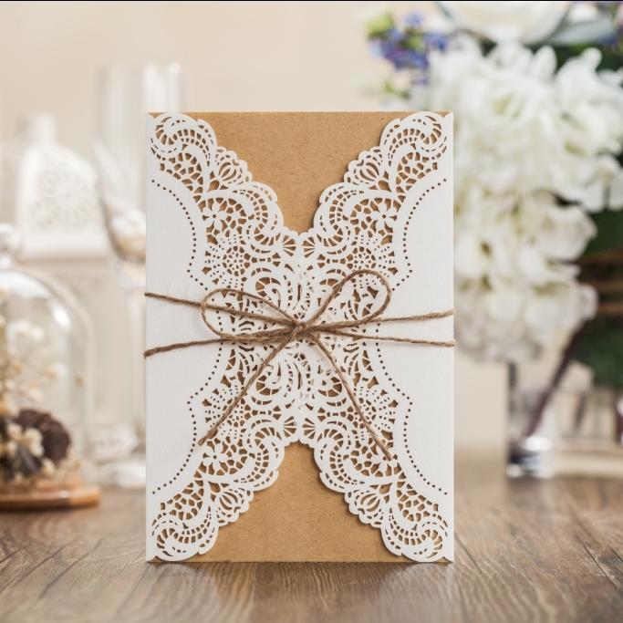 2016 New Custom Print Wedding Invitations Unique Laser Cut