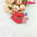 Fashion Gold-Plated Red Sexy Lip and Lipstick Rhinestone Brooch PIN 50MM for Women Gift Jewelry