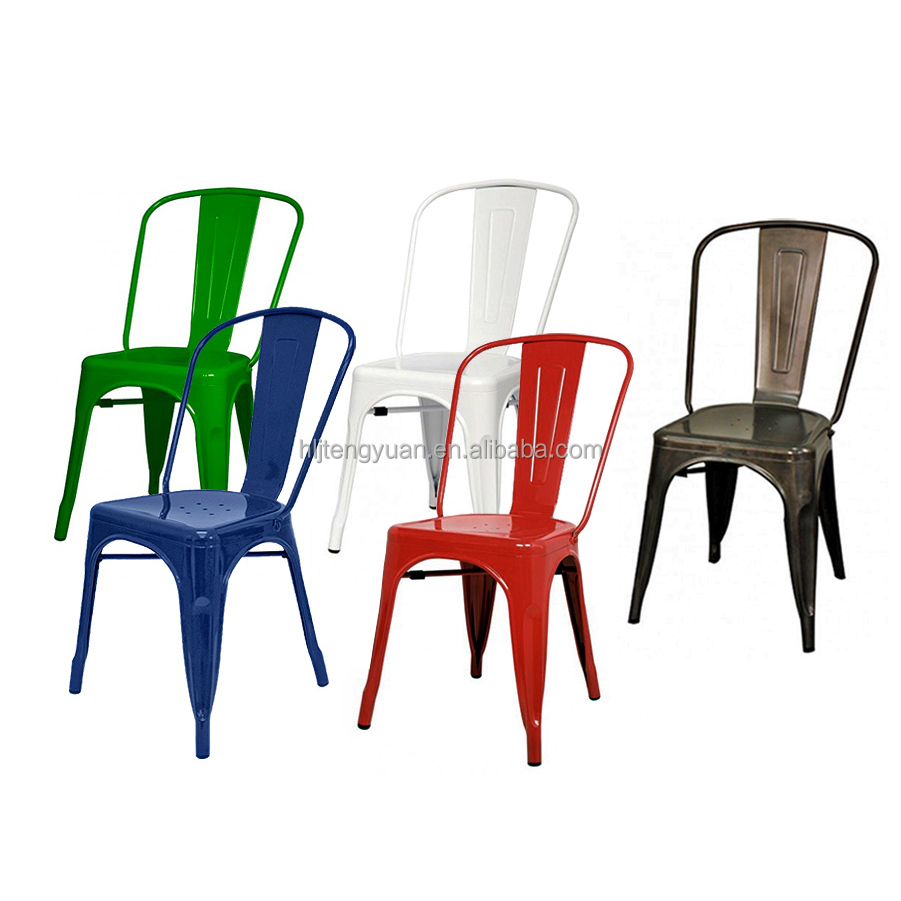 Seven different colors stackable cheap garden metal bistro for Different color chairs