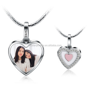 925 Sterling Silver Personalized Girlfriend Heart Shaped Photo Frame Pendant for Necklace