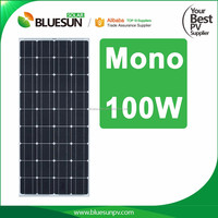 Bluesun solar energy system 12v mono 100w price per watt solar panel