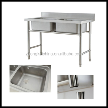 Freestanding Stainless Steel Commercial Kitchen Sink Double Bowl