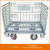 4 wheels large folding rolling galvanized used collapsible bulk containers