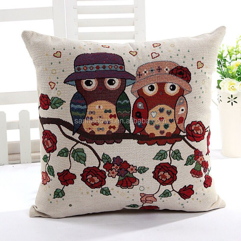 Cotton and linen jacquard owl pillows cushion car sofa office pillow