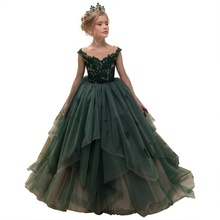 New Lace Princess <strong>Dress</strong> Flower Wedding Long Tail <strong>Girl's</strong> <strong>Dresses</strong>